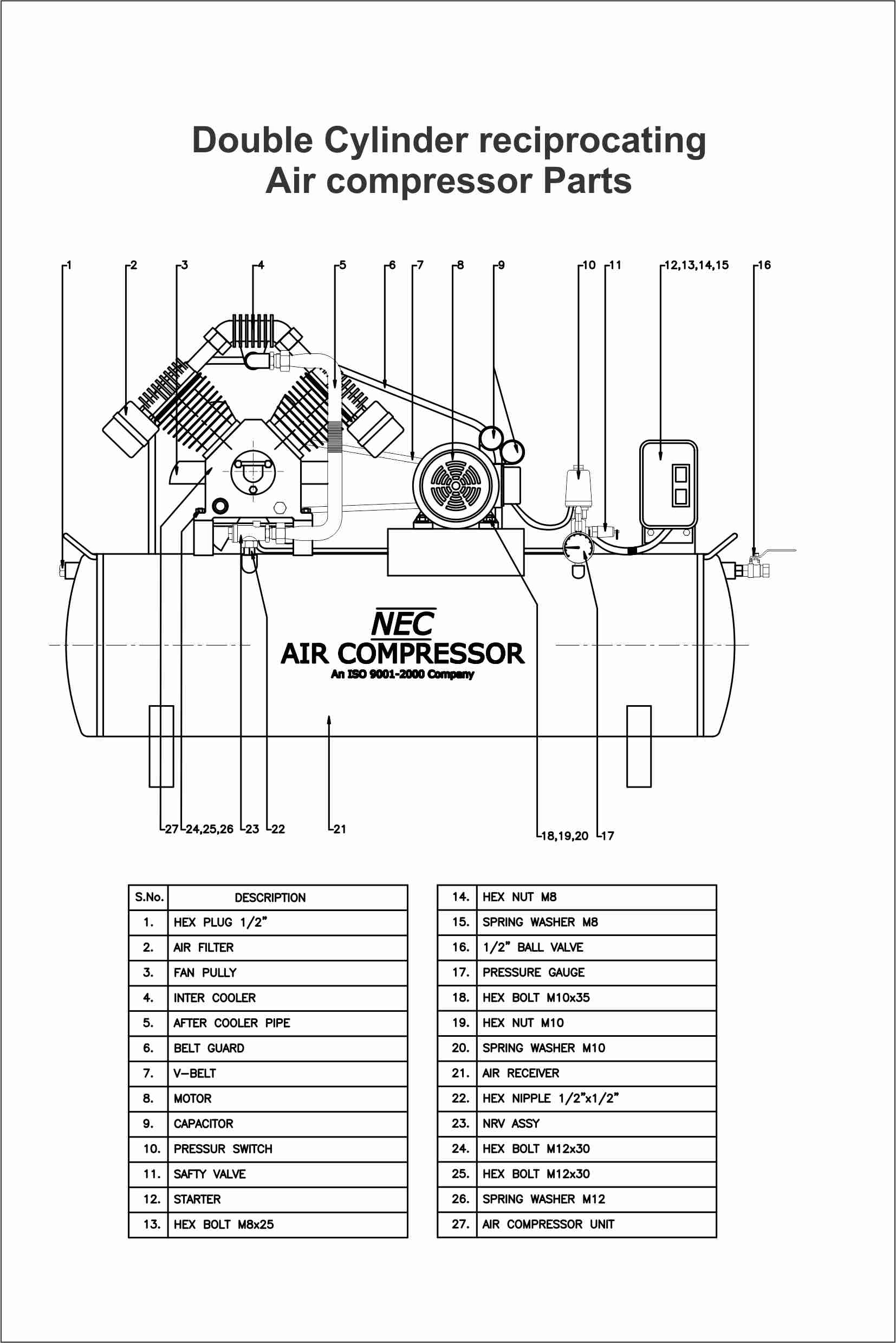 line diagram of two stage reciprocating air compressor
